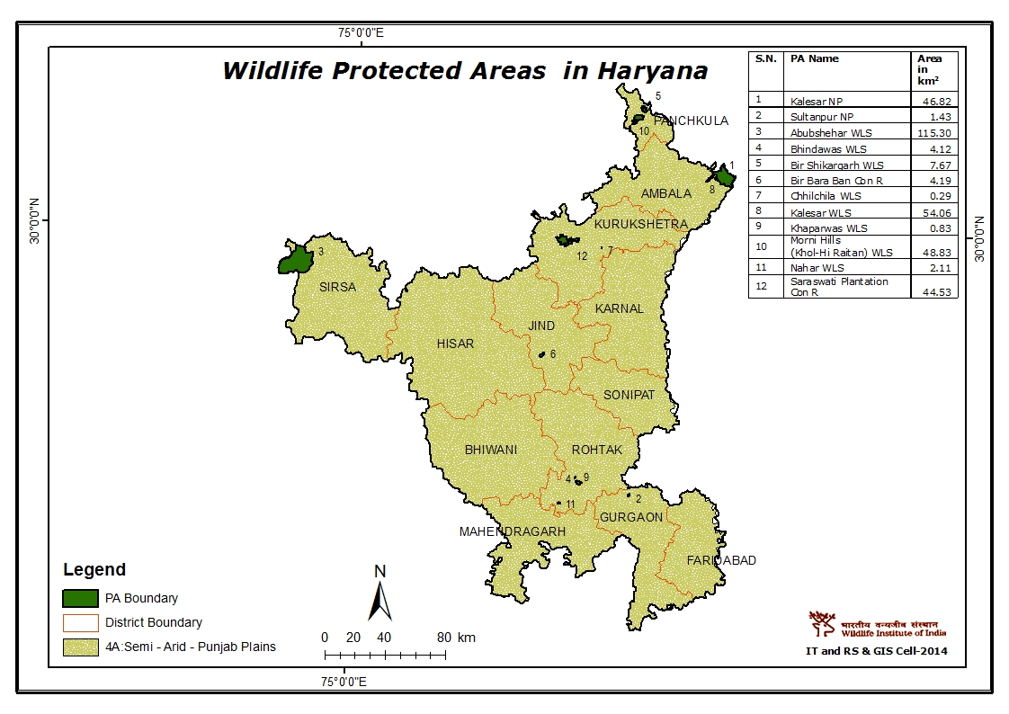 Haryana India Map.Maps Of Protected Areas In India